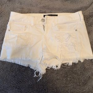Express Distressed White Denim Shorts